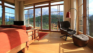 Summit Suite at Schloss Elmau Retreat with view on the mountains