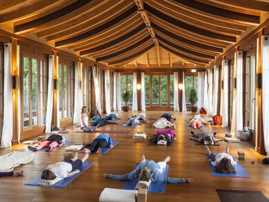 Barbra Noh praktiziert Strength & Grace Yoga im Wellnesshotel Bayern