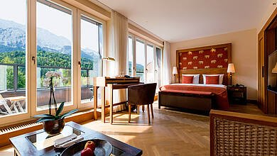 Bright Junior Suite with a balcony at Schloss Elmau